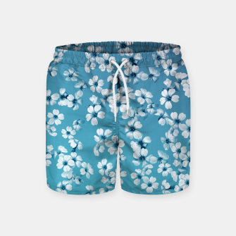 Miniatur Small flowers on blue wall Swim Shorts, Live Heroes