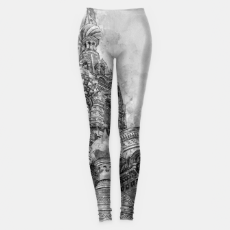 Thumbnail image of Saint Petersburg City Russia black and White Digial Painting Leggings, Live Heroes