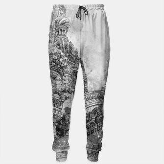 Thumbnail image of Saint Petersburg City Russia black and White Digial Painting Cotton sweatpants, Live Heroes