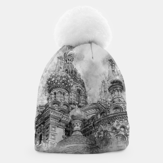 Thumbnail image of Saint Petersburg City Russia black and White Digial Painting Beanie, Live Heroes