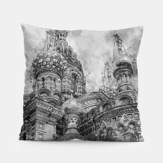 Thumbnail image of Saint Petersburg City Russia black and White Digial Painting Pillow, Live Heroes
