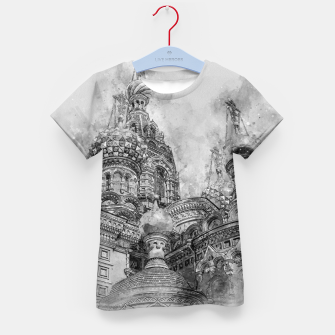 Thumbnail image of Saint Petersburg City Russia black and White Digial Painting Kid's t-shirt, Live Heroes