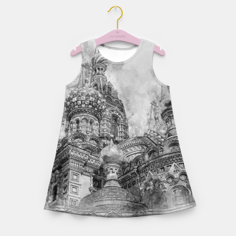 Thumbnail image of Saint Petersburg City Russia black and White Digial Painting Girl's summer dress, Live Heroes