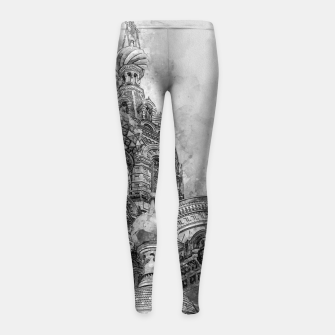 Thumbnail image of Saint Petersburg City Russia black and White Digial Painting Girl's leggings, Live Heroes