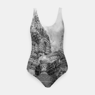 Thumbnail image of Saint Petersburg City Russia black and White Digial Painting Swimsuit, Live Heroes