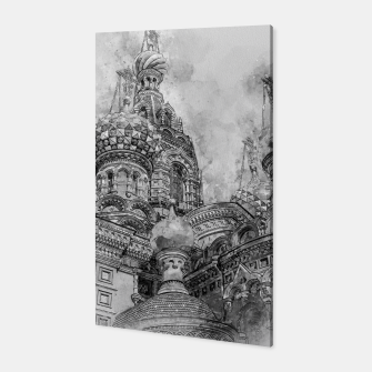 Thumbnail image of Saint Petersburg City Russia black and White Digial Painting Canvas, Live Heroes