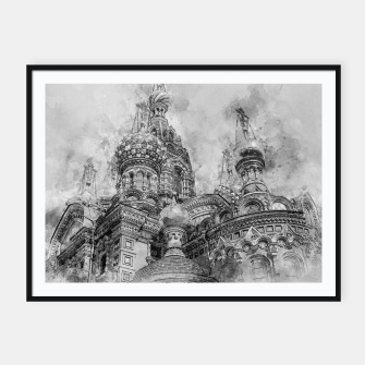 Thumbnail image of Saint Petersburg City Russia black and White Digial Painting Framed poster, Live Heroes