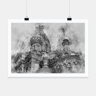 Thumbnail image of Saint Petersburg City Russia black and White Digial Painting Poster, Live Heroes