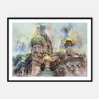 Thumbnail image of Saint Petersburg City Russia Colour Digial Painting Framed poster, Live Heroes
