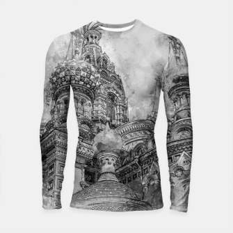 Thumbnail image of Saint Petersburg City Russia black and White Digial Painting Longsleeve rashguard , Live Heroes