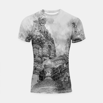 Thumbnail image of Saint Petersburg City Russia black and White Digial Painting Shortsleeve rashguard, Live Heroes