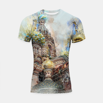 Thumbnail image of Saint Petersburg City Russia Colour Digial Painting Shortsleeve rashguard, Live Heroes