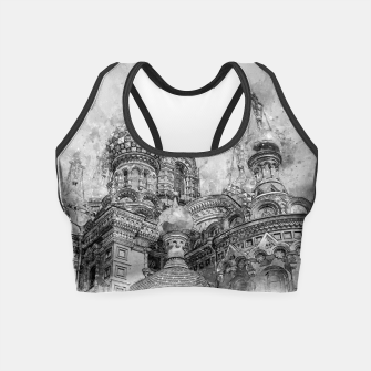 Thumbnail image of Saint Petersburg City Russia black and White Digial Painting Crop Top, Live Heroes