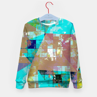 Imagen en miniatura de psychedelic geometric square and triangle pattern abstract background in blue green yellow Kid's sweater, Live Heroes