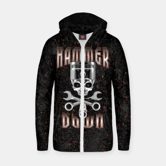 Thumbnail image of Hammer Down Cotton zip up hoodie, Live Heroes