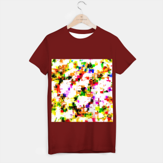 Miniaturka psychedelic geometric square pixel pattern abstract background in green red pink yellow T-shirt regular, Live Heroes