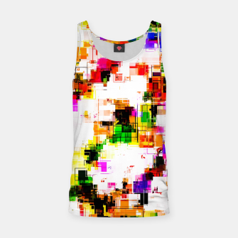 Miniaturka psychedelic geometric square pixel pattern abstract background in green red pink yellow Tank Top, Live Heroes