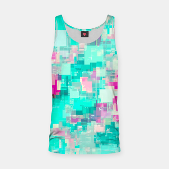 Miniaturka psychedelic geometric square pixel pattern abstract background in blue and pink Tank Top, Live Heroes
