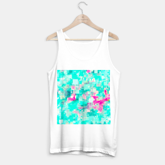 Miniaturka psychedelic geometric square pixel pattern abstract background in blue and pink Tank Top regular, Live Heroes