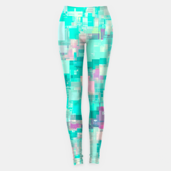 Miniaturka psychedelic geometric square pixel pattern abstract background in blue and pink Leggings, Live Heroes