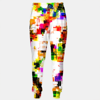 Miniaturka psychedelic geometric square pixel pattern abstract background in green red pink yellow Cotton sweatpants, Live Heroes
