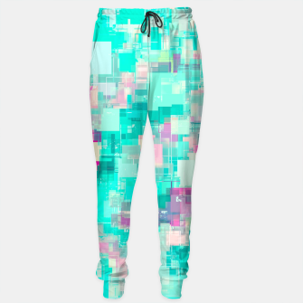 Miniaturka psychedelic geometric square pixel pattern abstract background in blue and pink Cotton sweatpants, Live Heroes