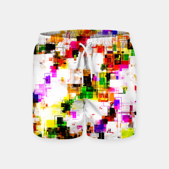 Miniaturka psychedelic geometric square pixel pattern abstract background in green red pink yellow Swim Shorts, Live Heroes