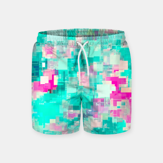 Miniaturka psychedelic geometric square pixel pattern abstract background in blue and pink Swim Shorts, Live Heroes