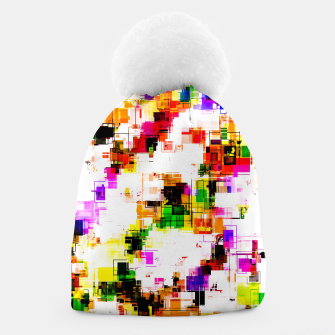 Miniaturka psychedelic geometric square pixel pattern abstract background in green red pink yellow Beanie, Live Heroes