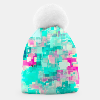 Miniaturka psychedelic geometric square pixel pattern abstract background in blue and pink Beanie, Live Heroes