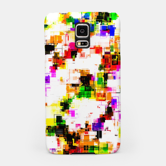 Miniaturka psychedelic geometric square pixel pattern abstract background in green red pink yellow Samsung Case, Live Heroes