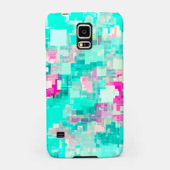 Miniaturka psychedelic geometric square pixel pattern abstract background in blue and pink Samsung Case, Live Heroes