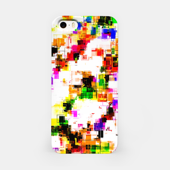 Miniaturka psychedelic geometric square pixel pattern abstract background in green red pink yellow iPhone Case, Live Heroes