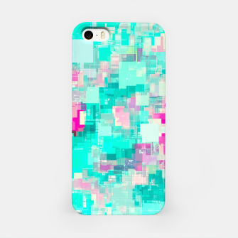 Miniaturka psychedelic geometric square pixel pattern abstract background in blue and pink iPhone Case, Live Heroes