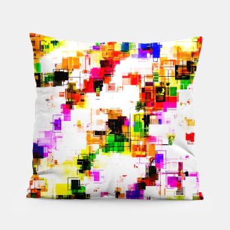 Miniaturka psychedelic geometric square pixel pattern abstract background in green red pink yellow Pillow, Live Heroes