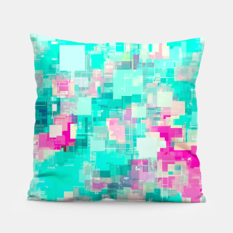 Miniaturka psychedelic geometric square pixel pattern abstract background in blue and pink Pillow, Live Heroes