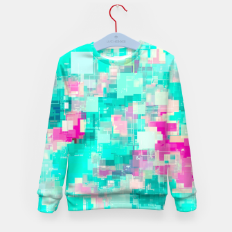 Miniaturka psychedelic geometric square pixel pattern abstract background in blue and pink Kid's sweater, Live Heroes
