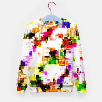 Miniaturka psychedelic geometric square pixel pattern abstract background in green red pink yellow Kid's sweater, Live Heroes