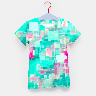 Miniaturka psychedelic geometric square pixel pattern abstract background in blue and pink Kid's t-shirt, Live Heroes