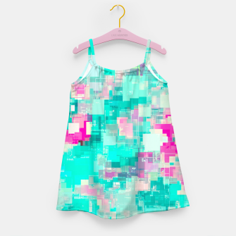 Miniaturka psychedelic geometric square pixel pattern abstract background in blue and pink Girl's dress, Live Heroes
