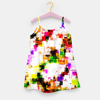 Miniaturka psychedelic geometric square pixel pattern abstract background in green red pink yellow Girl's dress, Live Heroes