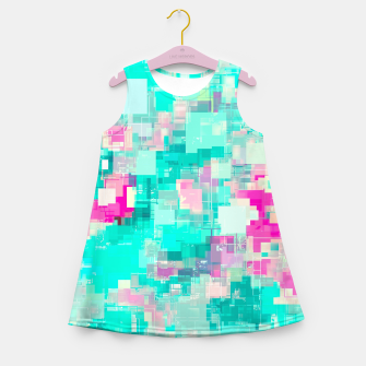 Miniaturka psychedelic geometric square pixel pattern abstract background in blue and pink Girl's summer dress, Live Heroes
