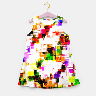 Miniaturka psychedelic geometric square pixel pattern abstract background in green red pink yellow Girl's summer dress, Live Heroes