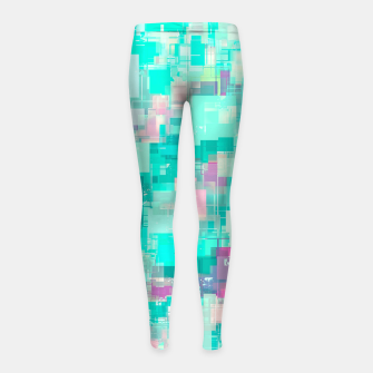 Miniaturka psychedelic geometric square pixel pattern abstract background in blue and pink Girl's leggings, Live Heroes