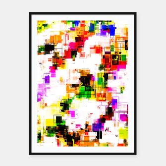 Miniaturka psychedelic geometric square pixel pattern abstract background in green red pink yellow Framed poster, Live Heroes