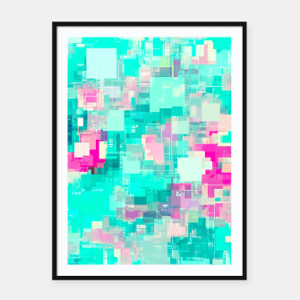 Miniaturka psychedelic geometric square pixel pattern abstract background in blue and pink Framed poster, Live Heroes