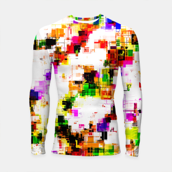 Miniaturka psychedelic geometric square pixel pattern abstract background in green red pink yellow Longsleeve rashguard , Live Heroes