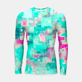Miniaturka psychedelic geometric square pixel pattern abstract background in blue and pink Longsleeve rashguard , Live Heroes