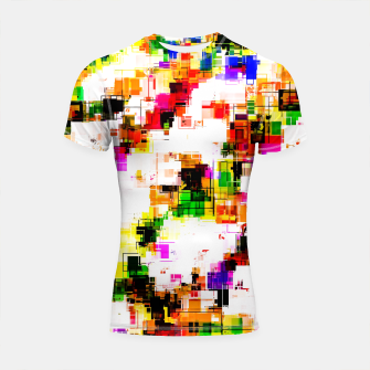 Miniaturka psychedelic geometric square pixel pattern abstract background in green red pink yellow Shortsleeve rashguard, Live Heroes