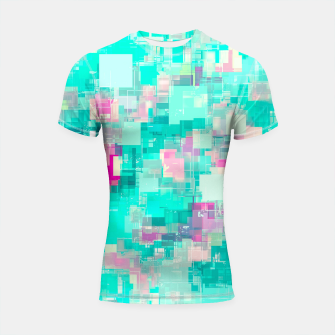 Miniaturka psychedelic geometric square pixel pattern abstract background in blue and pink Shortsleeve rashguard, Live Heroes